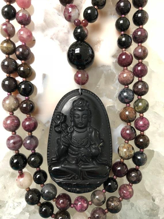 Watermelon Tourmaline and Obsidian Mala/Prayer Beads