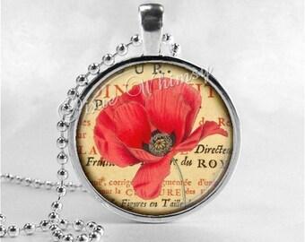 POPPY FLOWER Necklace, Poppies, Watercolor Flower Art, Flower Pendant, Flower Jewelry, Flower Charm, Glass Art Pendant Necklace, Red Poppies