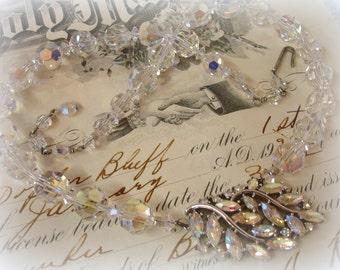 cRystal necklace fReshly restrung using vintage sWarovski crystals and vintage rhinestones . crystal ab wedding necklace