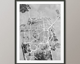 San Francisco Map, San Francisco California City Street Map, Art Print (2335)