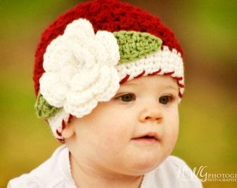 Girls Christmas Hat / Girls Winter Hat / Girls Beanie / Crochet Girls Hat / Hats For Girls / Baby Girl Hat / Toddler Girl Hat / Girls Hat