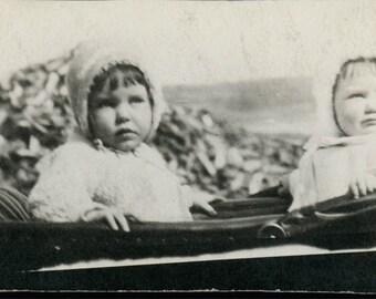 vintage photo Avis and Wanda twins in baby buggy