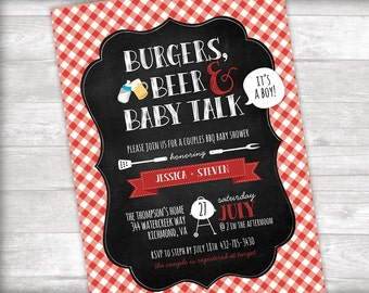 Burgers, Beer & Baby Talk BBQ Baby Shower Invitation Printable