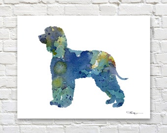 Irish Water Spaniel Art Print - Abstract Watercolor Painting - Wall Decor