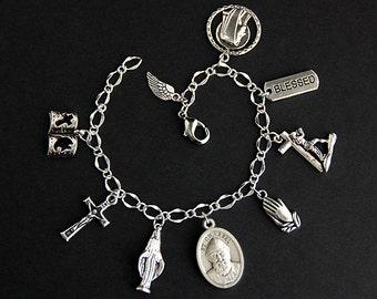 Saint Charbel Bracelet. Christian Bracelet. St Charbel Catholic Charm Bracelet. Christian Jewelry. Religious Bracelet. Handmade Jewelry.