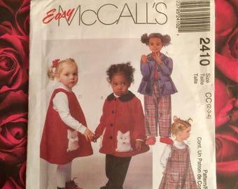 90's Vintage Toddler Sewing Pattern Mccalls 2410