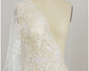 Romantic floral bridal lace fabric, heavy embroidered wedding lace fabric - floral lace design - off-white - (L17-018)