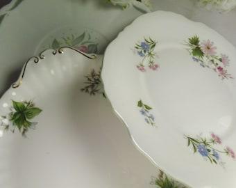 3 Pretty Cake Plates Green Theme , Vintage Susie Cooper, Royal Albert , Crown Stafford