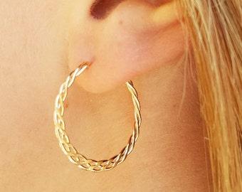 Gold Hoop Earrings, Braided Hoops, Minimalist Hoop Jewelry, Wire Hoops, Braided