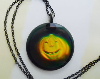 Hologram Necklace, Hologram Pumpkin, Pumpkin Necklace, Halloween Pumpkin,