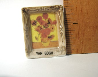 Tiny Vincent VAN GOGH Sunflowers Art Painting Masterpiece - French Feve Feves Figurines Doll House Miniatures V207