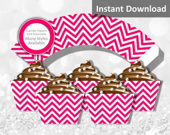Watermelon Hot Pink Chevron Cupcake Wrapper Instant Download, Party Decorations