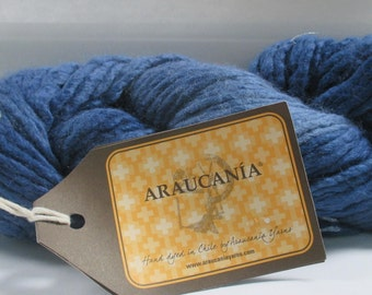 Lot of 6 Araucania Brand Hand Dyed Blue Yarn 100 gram skeins Coliumo Solid color #10 70/30 Wool Silk Blend
