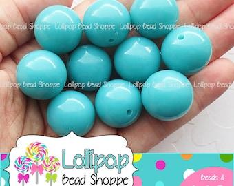 20mm Beads DARK TURQUOISE Beads Gumball Beads Chunky Beads Bubblegum Beads Bubble Gum Beads Round Beads Acrylic Beads Gum Ball Beads Qty 10