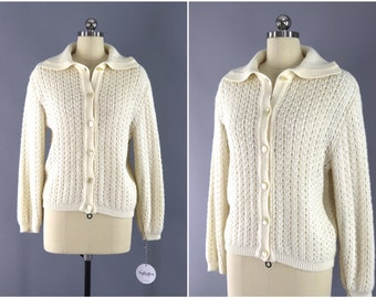 Vintage 1980s Cardigan Sweater / Ivory Winter White Knitted Sweater / Vintage Jumper / Vintage Cardi