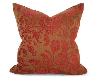 Copper Pillows, Copper Pillow Cover, Copper Red Pillow, Textured Throw Pillow, Rustic Red, Antique Gold, Floral Cushion, 18, 20, 22, Custom