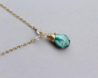 Blue gemstone pendant necklace for women, Delicate layering necklace, Chrysocolla Aquamarine necklace in gold filled, Blue necklace gold