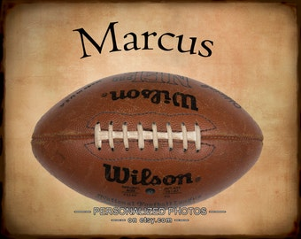 Personalized Football Photograph, Personalized Sports Photo Gifts for Boys Room Decor Football Wall Art p139