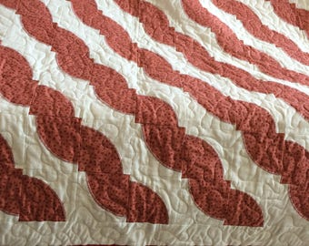 Quilt 81x81 inch appliqued in shades of Brown !00% New Cotton Fabric & Batting