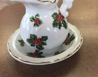 Vintage Lefton minature Holly ewer and basin..free shipping !!