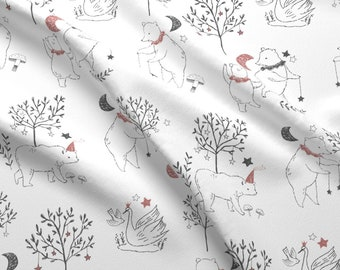 Woodland Bears + Friends Fabric - Fable Bears Blush By Biancapozzi - Woodland Forest Bears Cotton Fabric By The Yard With Spoonflower