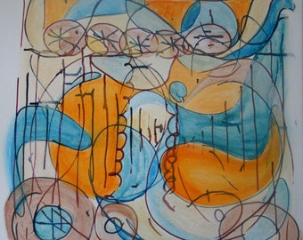 """Feminine Divine Abstract Acrylic and Ink Painting 20"""" x 20"""" Square"""