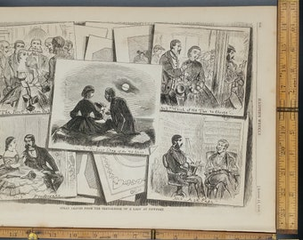 Images from the Sketch-Book of a Lady at Newport, from 1860. Victorian Era Man and Woman on the Beach. Large Antique Engraving, About 11x15