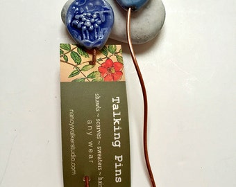 Watercolour Blue Sheep and Rooster Shawl Pin  handmade clay knitting accessory imprinted on 2 sides