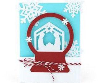 Nativity Snow Globe Card , Snowflakes , Holiday , Christmas , Baby , Faith