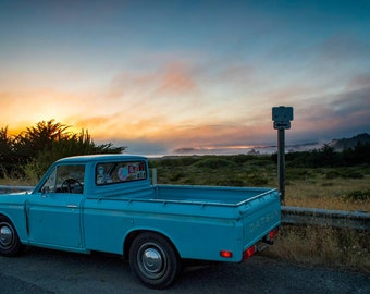 71 Datsun 521 , Landscape Photography, Metal Print, Large Prints, Humboldt County CA, Classic Cars, Sunsets, DJerniganPhoto