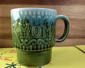 "Vintage Green/Teal/Aqua ""Mom"" Stacking Mug"