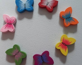 1 lot of 35 colorful Butterfly wooden beads