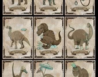 SteamPUNk Dinosaur set of NINE small prints