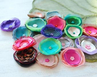 Fabric flowers, applique grab bag , handmade organza appliques, floral embellishments (20 pcs)- Grab Bag in Assorted Colors (mix set 369)