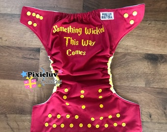 Harry Potter Something Wicked This Way Comes Embroidered One Size Cloth Diaper, Pocket Diaper | Photoshoot or Daily Use MADE TO ORDER