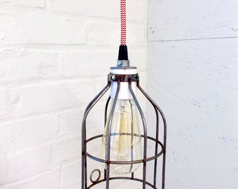 Industrial Hanging Cage Lamp Light with Antique Style Edison Bulb