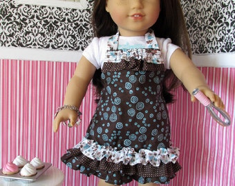 18 Inch Doll Apron, Brown and Blue doll apron fits 18 inch dolls such as American Girl dolls
