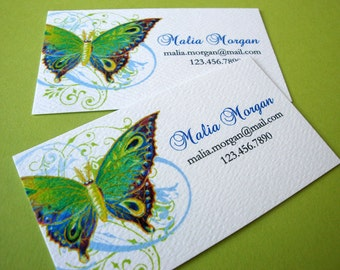 Butterfly Business Card, Custom Business Cards, Set of 50