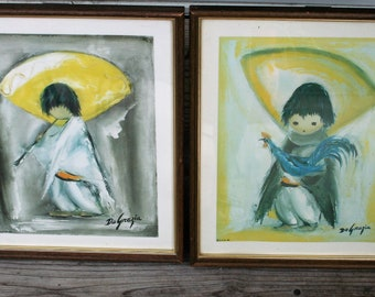 Piccolo Pete and Boy With Chicken Framed Prints by Ted DeGrazia / 1964 and 1967 / Wall Art / Southwestern Art