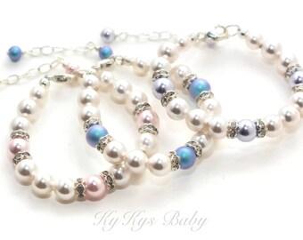 Baby Bracelet - Little Girl Bracelet - Newborn Baby Gift - Baby Jewelry - Swarovski Pearl Baby Bracelet - Girls Jewelry - FREE Gift Box