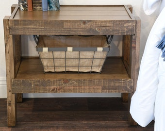 Reclaimed Wood Rustic Nightstand End Table - Barn Wood Style Side Table - presEARTH Spice