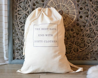 Cotton Laundry Bag, Canvas Hamper, Drawstring Laundry Bag, Dirty Clothes Quote, Travel Gifts, College Dorm Accessories