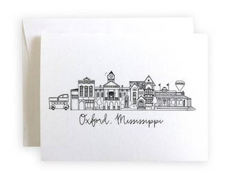 Oxford, Mississippi Skyline Greeting Card or Notecard Set