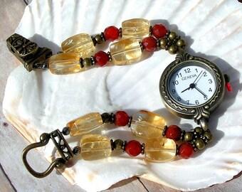 Antique Brass Watch, Citrine, Carnelian Jewelry W093
