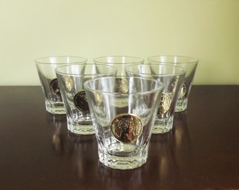 Gold Medallion Bar Glasses, Set of 6 Vintage Greek Roman short bar glasses with Cameo Coin, Whiskey Glass