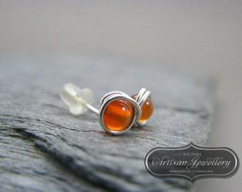 Sterling silver gemstone stud earrings ~ Orange stone stud earrings ~ Gemstone studs ~ Stud earrings ~ Post earrings ~ Gemstone earrings
