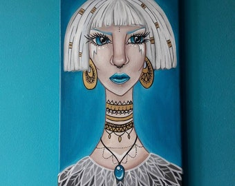 Long neck lady original acrylic painting on canvas