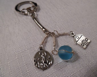 Firehouse-themed Keychain with Sky Blue Wire-Wrapped Bead