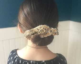 The Bun And Done, hair accessory, bun maker, hair style, gold sequins