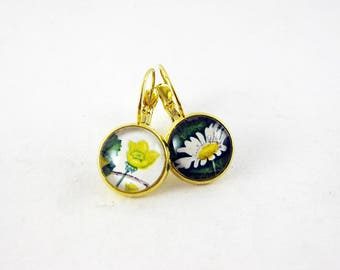 Wildflower Leverback Earrings, Vintage 1967 British Postage Stamp Jewelry, Nickel Free Gold, Mismatched Funky Floral Earrings, Yellow Green